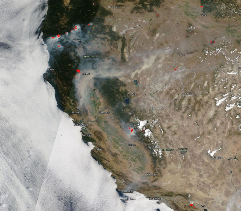 Nasa Satellite Sees Fires Up And Down U.s. West Coast | Nasa - Live Satellite Map California