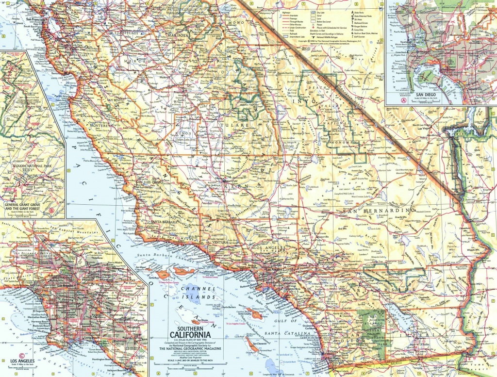 National Geographic Southern California Map 1966 - Maps - Road Map Of Southern California