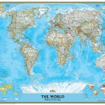 National Geographic World Map   Classic Blue Ocean Political   National Geographic Printable Maps