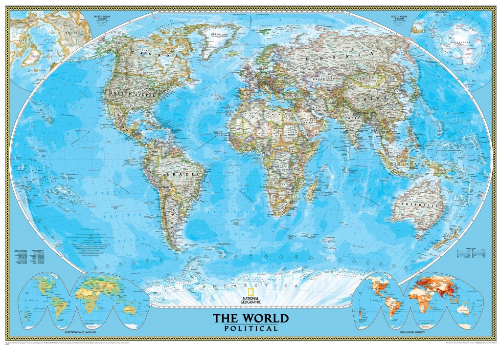 National Geographic World Map - Classic Blue Ocean Political - National Geographic Printable Maps