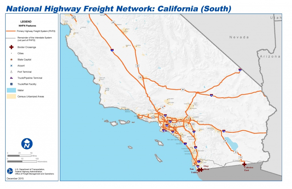 National Highway Freight Network Map And Tables For California - California Train Map