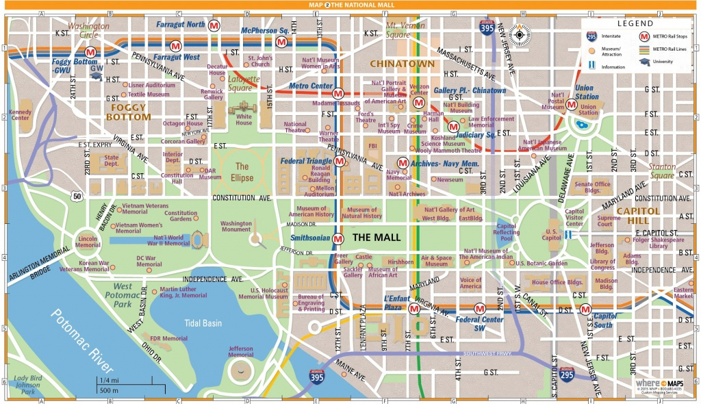 National Mall Map In Washington, D.c. | Wheretraveler - Printable Map Of Dc Monuments