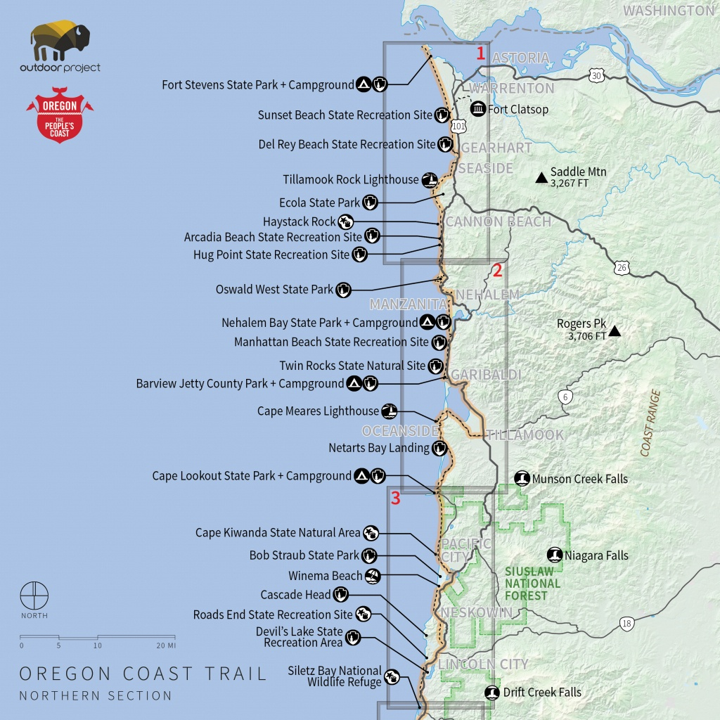 Navigating The Oregon Coast Trail | Outdoor Project - Southern California State Parks Map