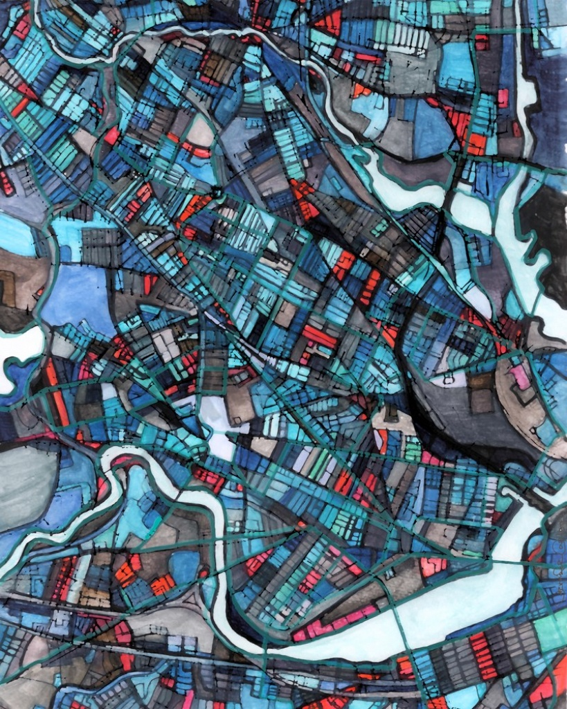 Neighborhood Map Of Cambridge Ma. Abstract Map Print - Printable Map Of Cambridge Ma