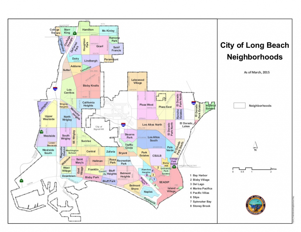 Neighborhoods Of Long Beach, California - Wikipedia - Printable Map Of Long Beach Ca