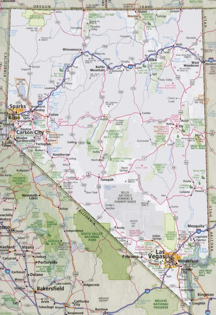 Nevada Road Map - Printable Map Of Nevada
