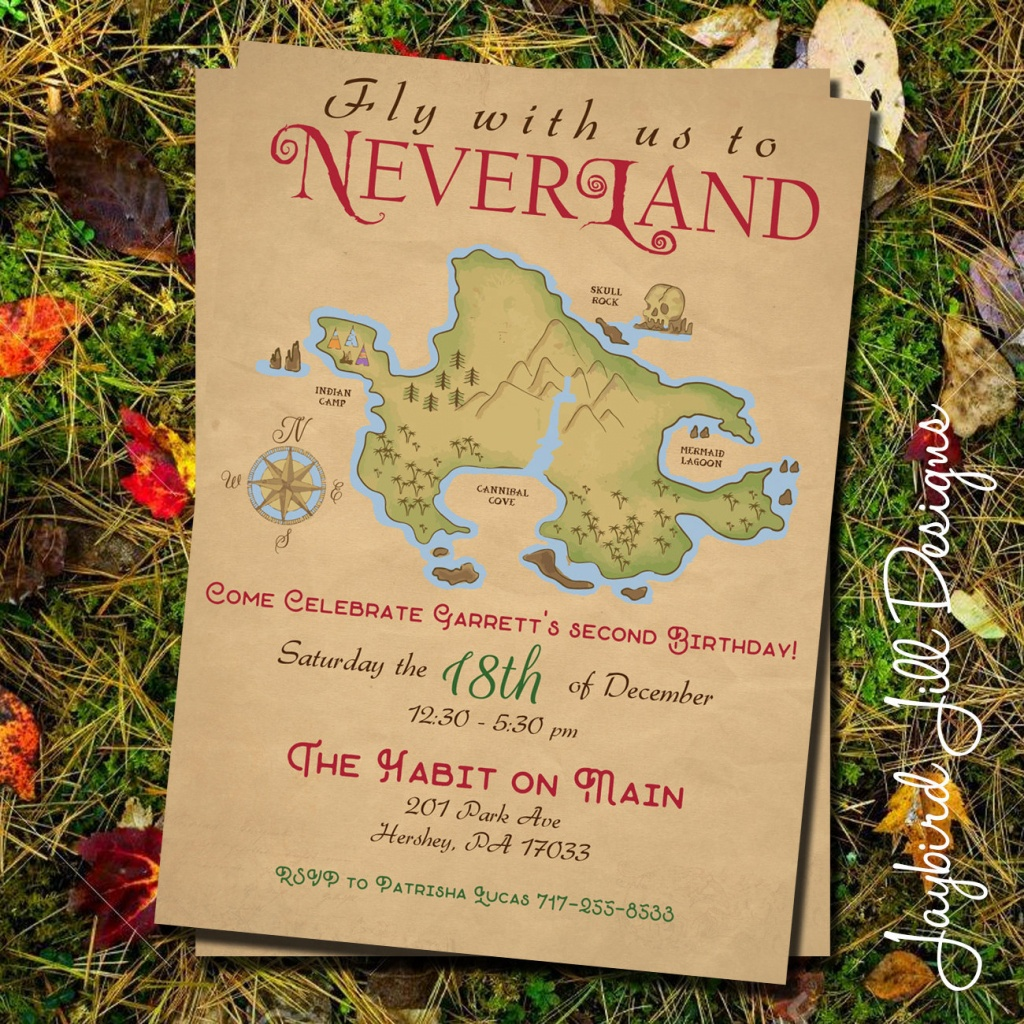 Neverland Birthday Party Invitation / Peter Pan Party / | Etsy - Neverland Map Printable