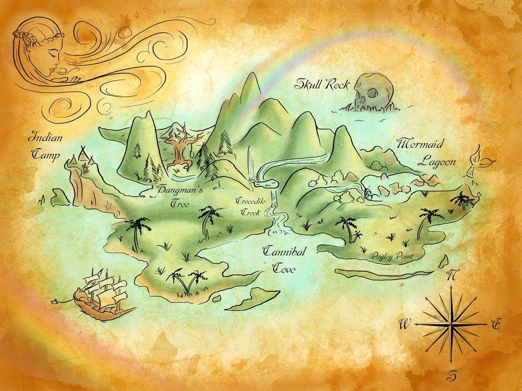 Neverland Mapmercedesjk On Deviantart | Peterpan,frozen & The - Neverland Map Printable