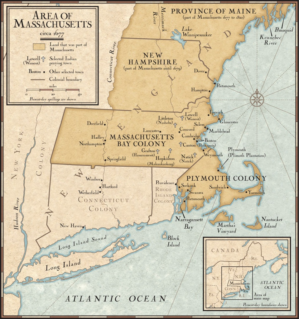 New England Colonies In 1677 | National Geographic Society - Printable Map Of New England