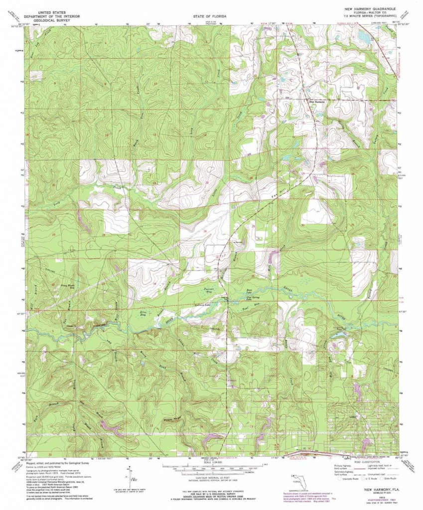 New Harmony Topographic Map, Fl - Usgs Topo Quad 30086G3 - Harmony Florida Map