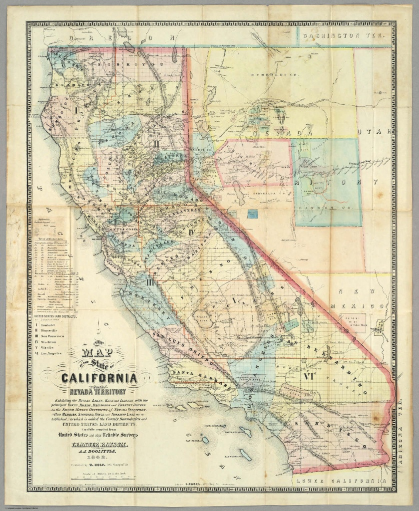 New Map Of The State Of California And Nevada Territory. / Ransom - California Territory Map