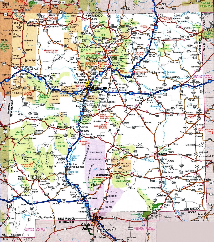 New Mexico Road Map - Free Printable Driving Maps