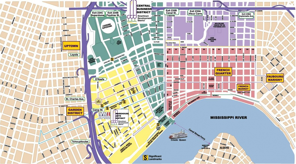 New Orleans Area Maps | On The Town - New Orleans Street Map Printable