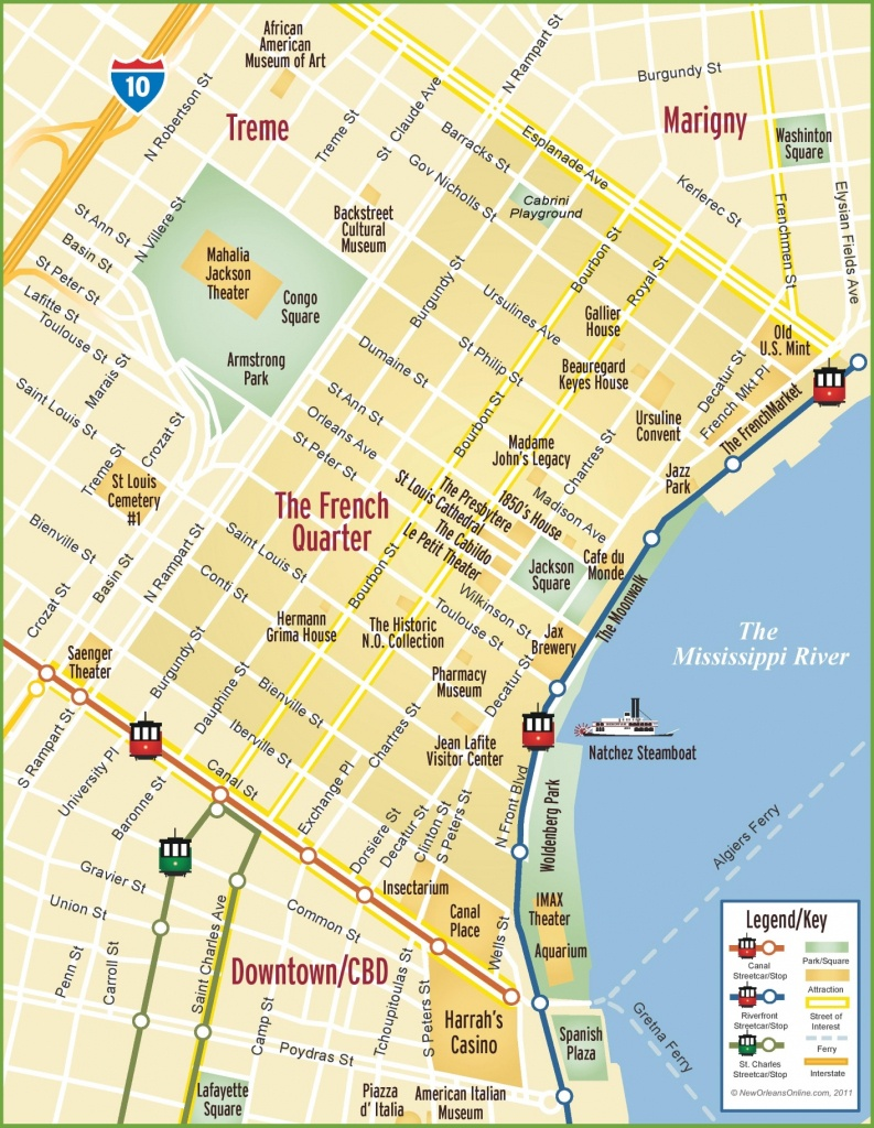 New Orleans French Quarter Map - New Orleans Street Map Printable