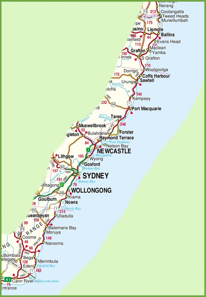 New South Wales Coast Map - Printable Map Of Nsw