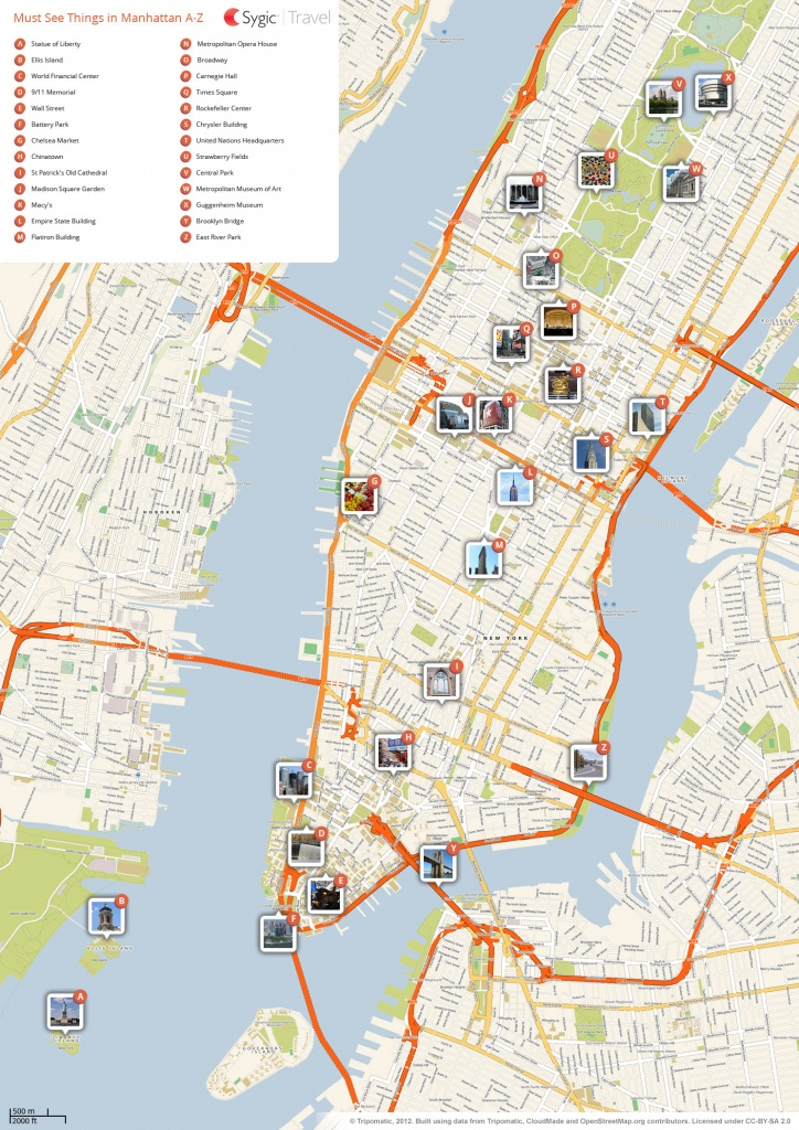 New York City Manhattan Printable Tourist Map | Sygic Travel - Printable Map Of New York City With Attractions