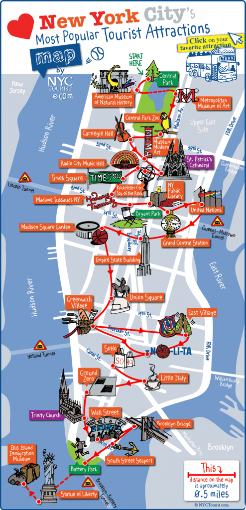 New York City Most Popular Attractions Map - Printable Map Of Manhattan Tourist Attractions