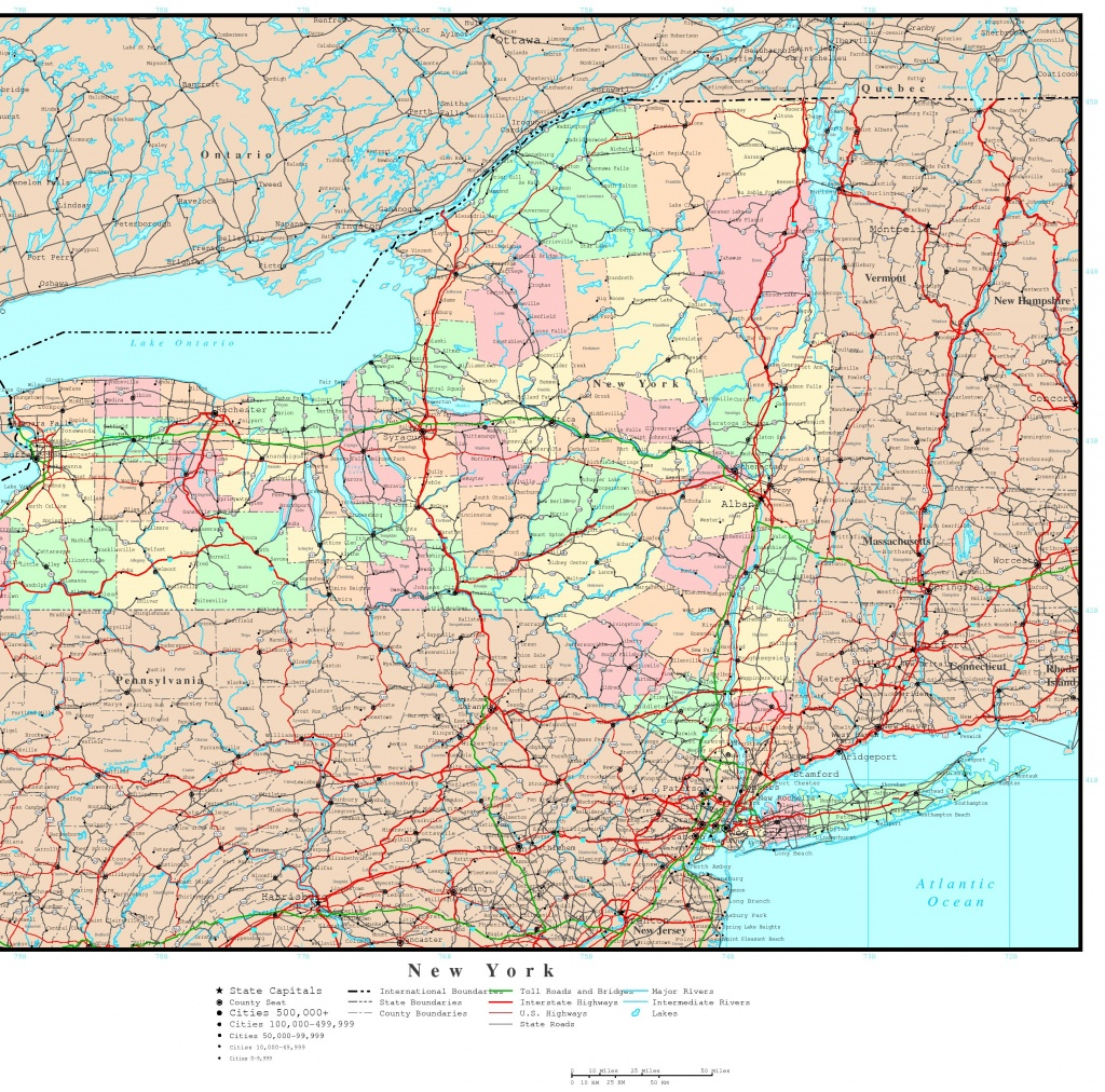 New York Political Map - Road Map Of New York State Printable