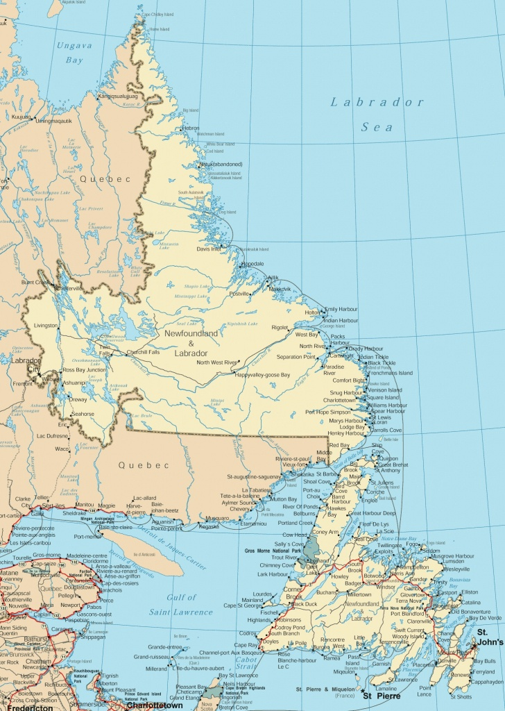 Newfoundland And Labrador Road Map - Printable Map Of Newfoundland