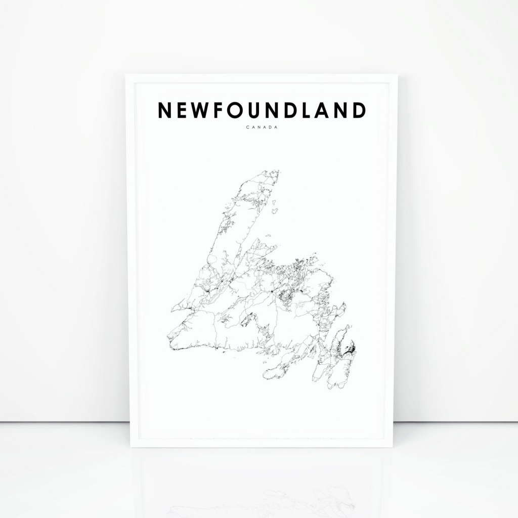 Newfoundland Map Print Road Map Print Newfoundland And | Etsy - Printable Map Of Newfoundland