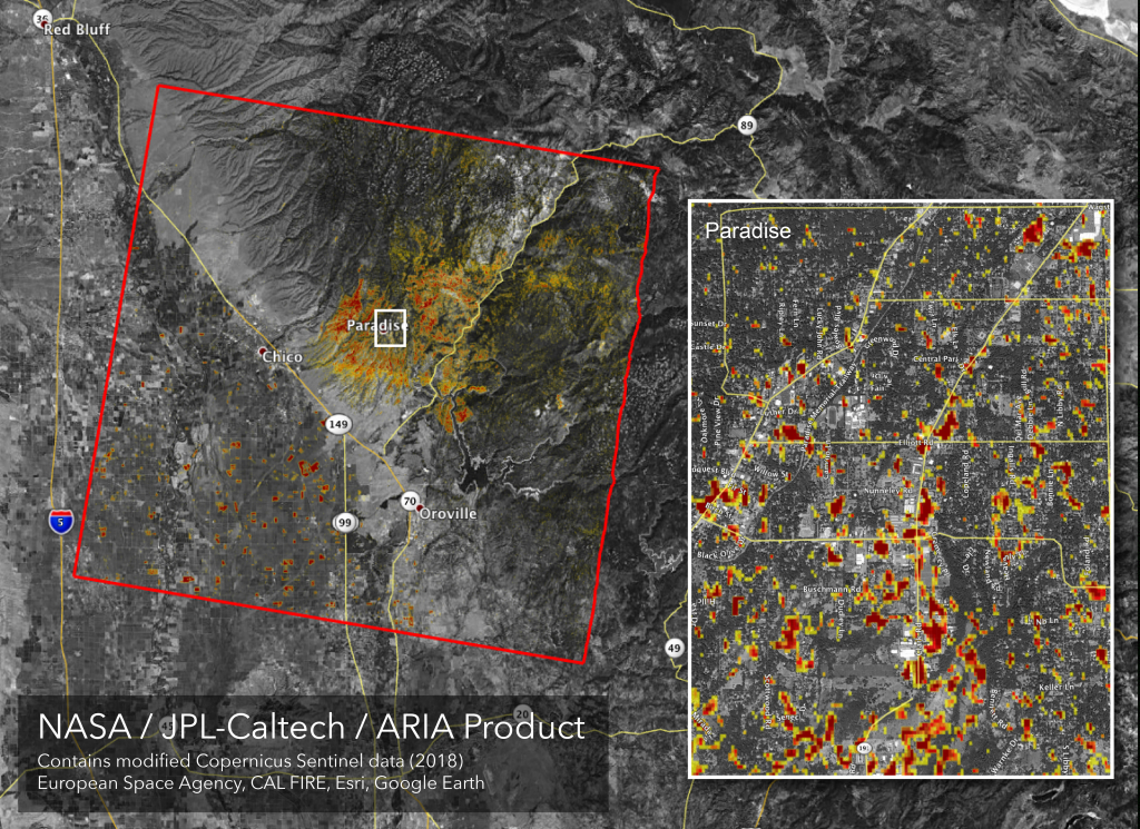 News | Updated Nasa Damage Map Of Camp Fire From Space - Paradise California Map