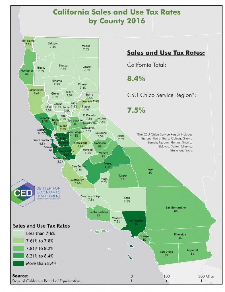 Newsletter Map - Center For Economic Development - California Sales Tax Map