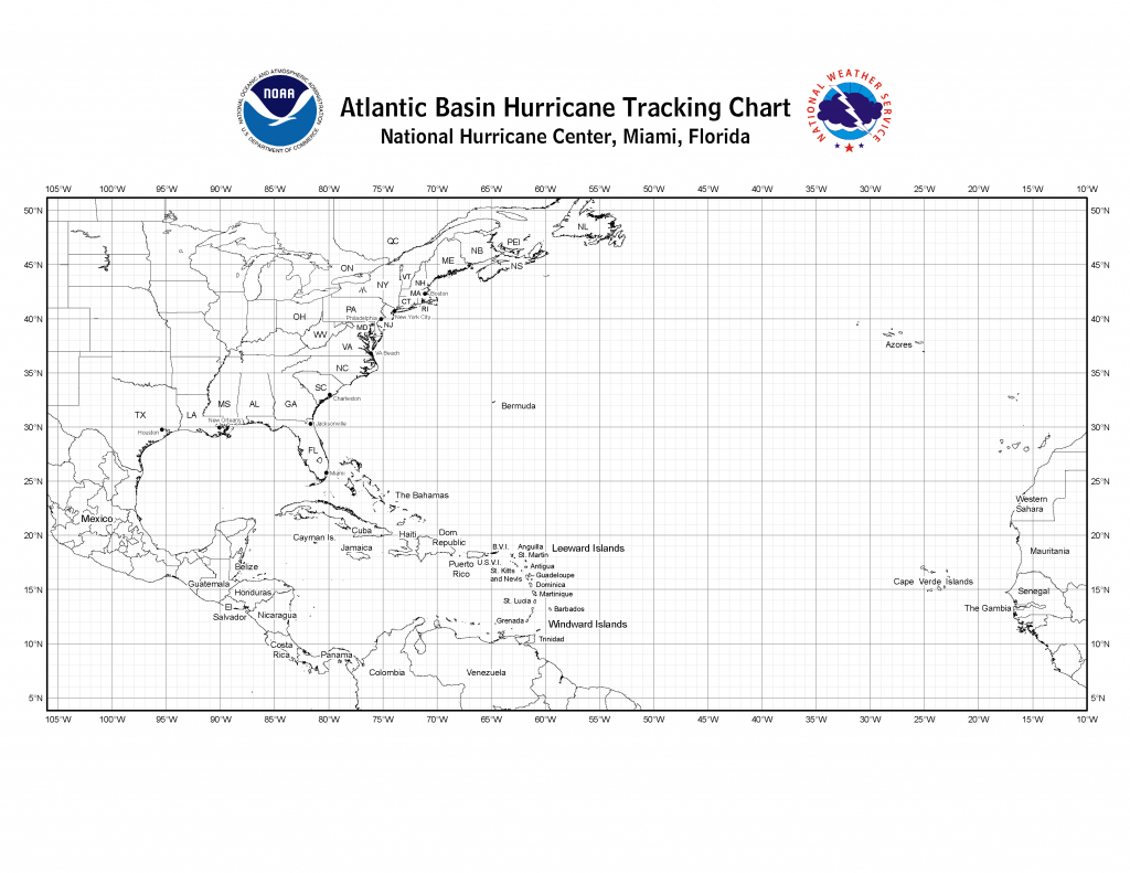 Nhc Blank Tracking Charts - Printable Hurricane Tracking Map 2016