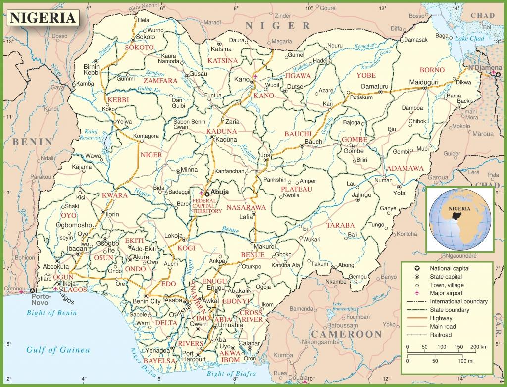 Nigeria Political Map - Printable Map Of Nigeria