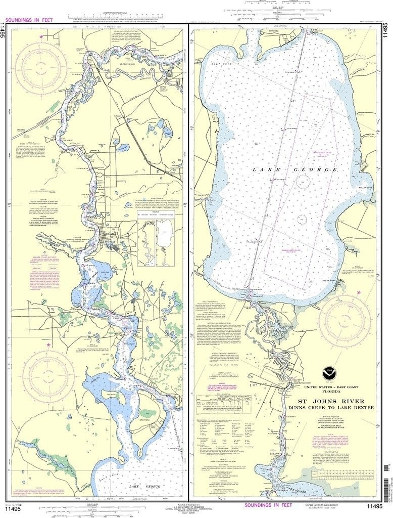 Noaa Nautical Chart 11495: St. Johns River Dunns Creek To Lake - Lake George Florida Map