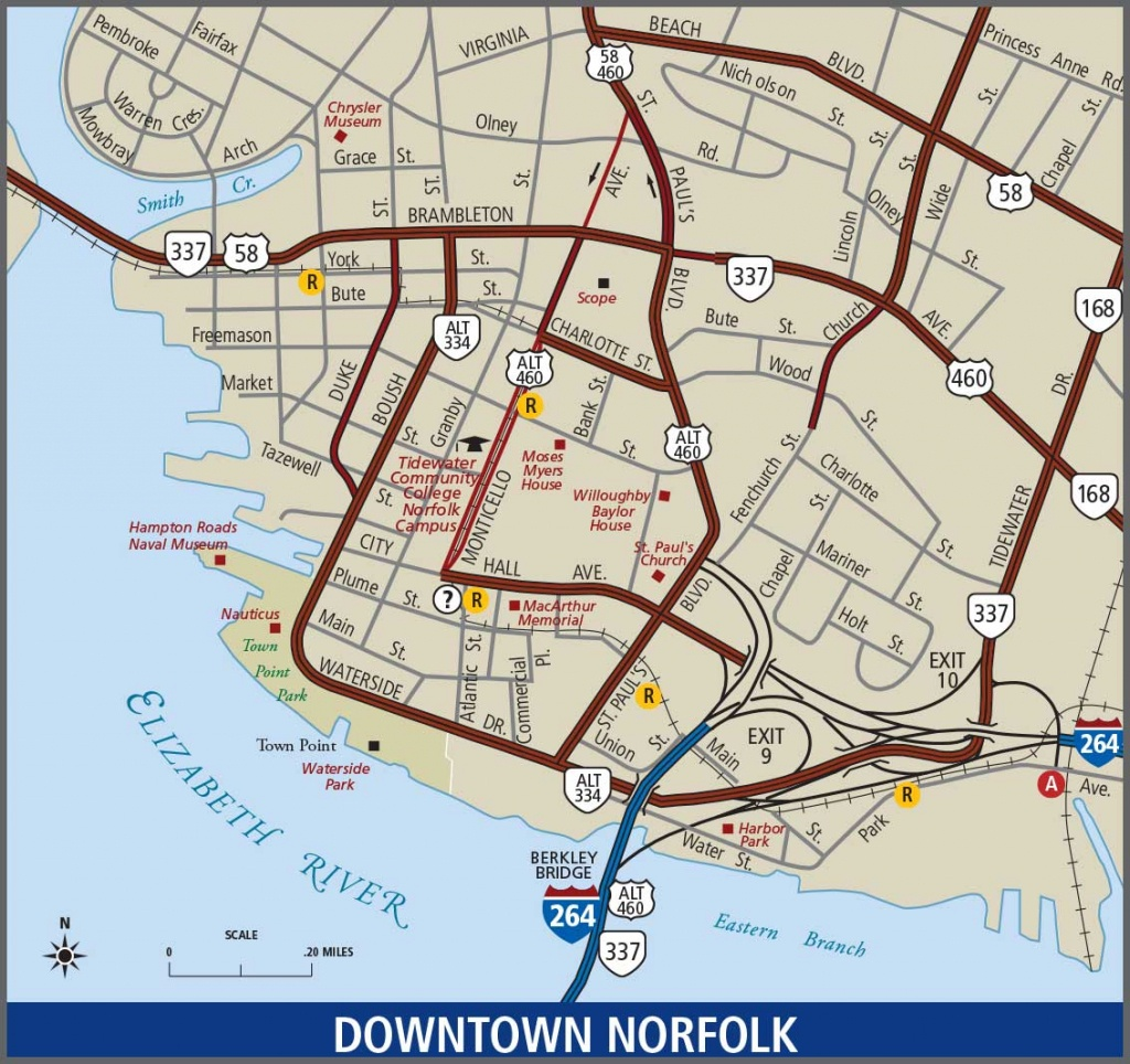 Norfolk - Downtown Map - Printable Map Of Norfolk Va