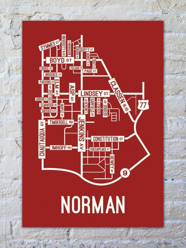 Norman, Oklahoma Street Map Print   For Tyler   Norman Oklahoma, Map - Printable Map Of Norman Ok