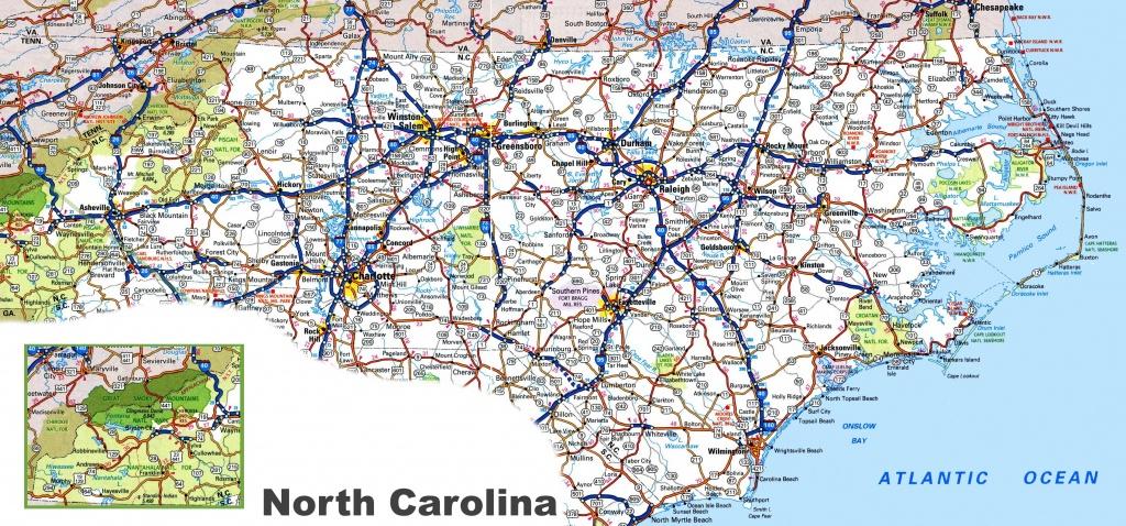 North Carolina Road Map - Printable Map Of North Carolina Cities