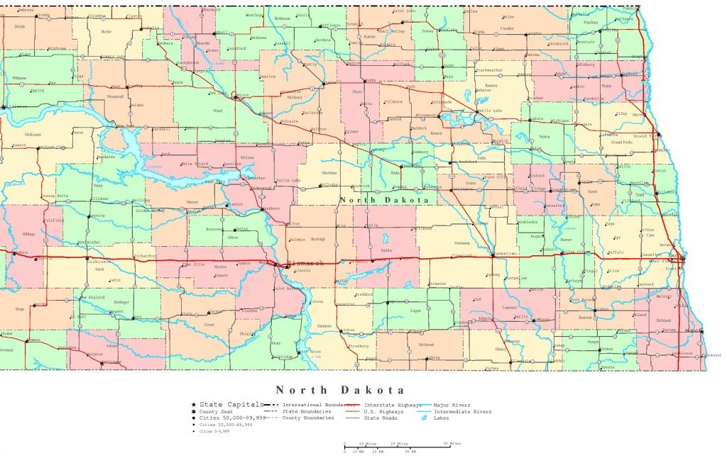 North Dakota Printable Map 865 11 South Of Cities | Sitedesignco - Printable Map Of South Dakota