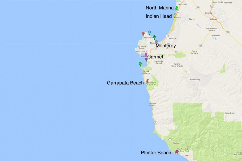 North Marina Nude Beach - Monterey County Ca - Monterey Beach California Map
