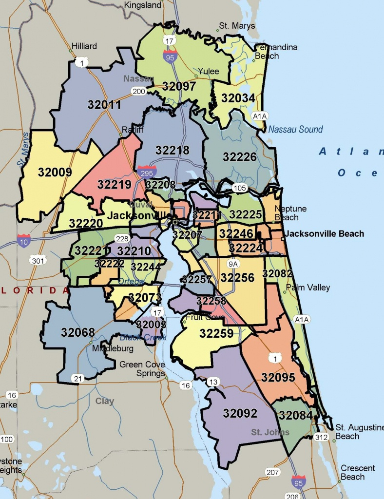 Northeast Florida Zip Code Map | Autobedrijfmaatje - Florida North Map