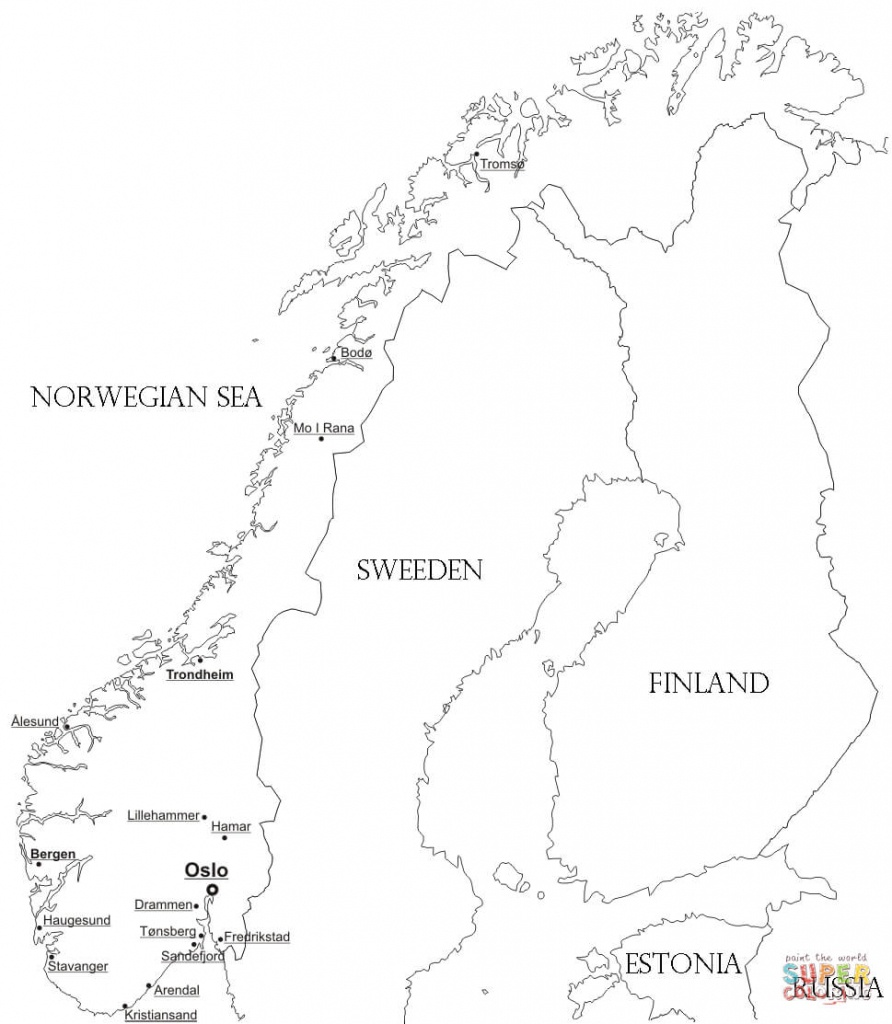 Norway Map With Cities Coloring Page | Free Printable Coloring Pages - Printable Map Of Norway