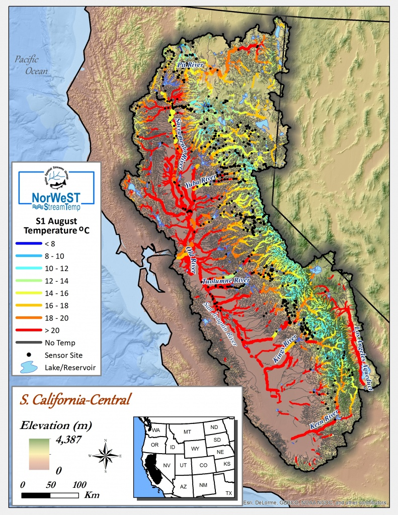 Norwest Modeled Historical Stream Temperature Climate Scenarios - Thermal California Map