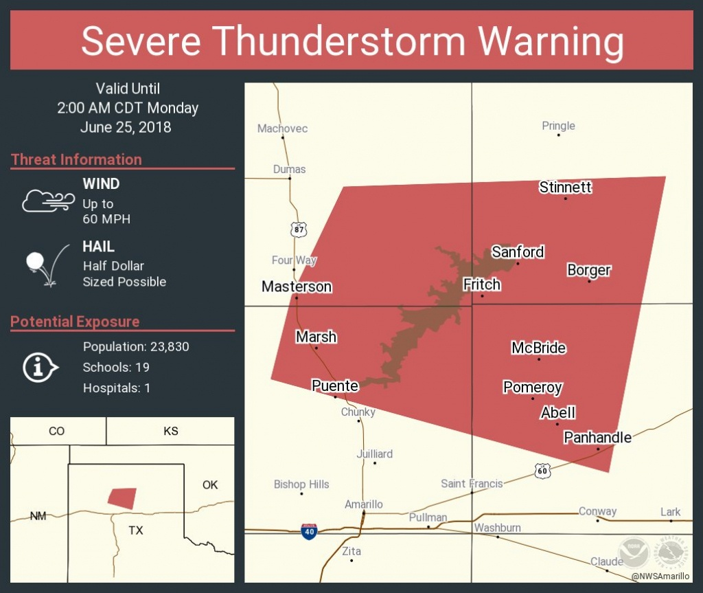 "Nws Amarillo On Twitter: ""severe Thunderstorm Warning Including - Fritch Texas Map"