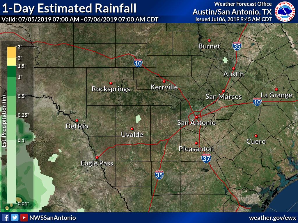 Observed Rainfall - Midnight Texas Map