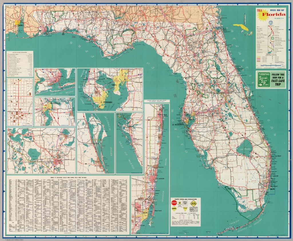 Official Road Map Florida The Sunshine State - David Rumsey - Detailed Road Map Of Florida