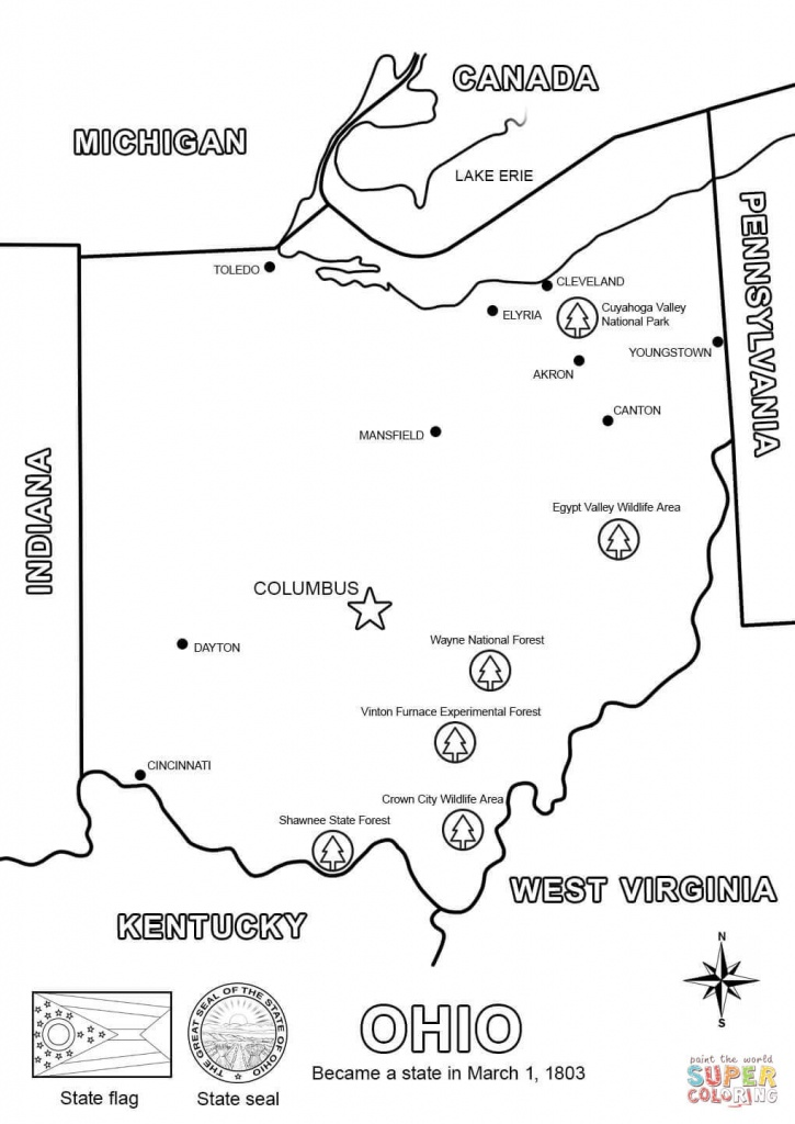 Ohio Map Coloring Page   Free Printable Coloring Pages - Ohio State Map Printable