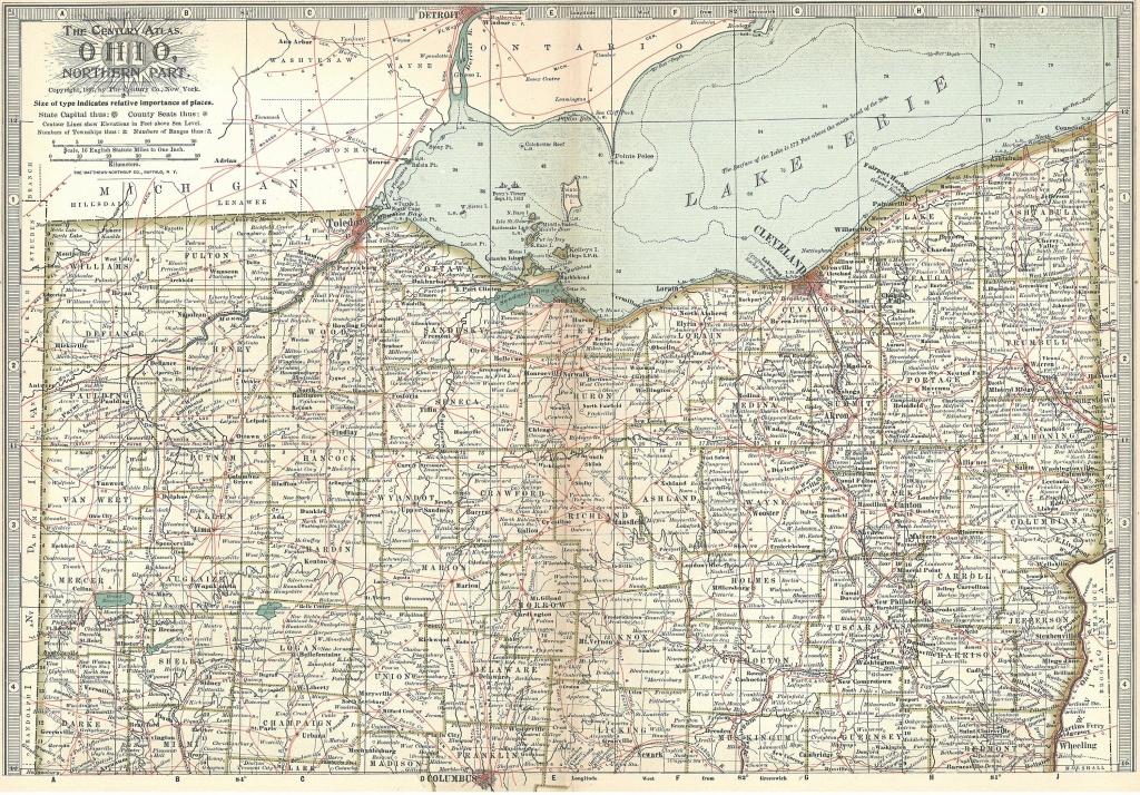 Ohio Map1897 Ohio State Mapnorth Southcleveland Cincinnati   Etsy - Ohio State Map Printable