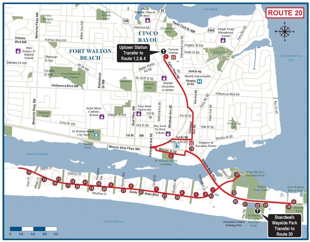 Okaloosa Route 20 - Ec Rider - Ft Walton Florida Map