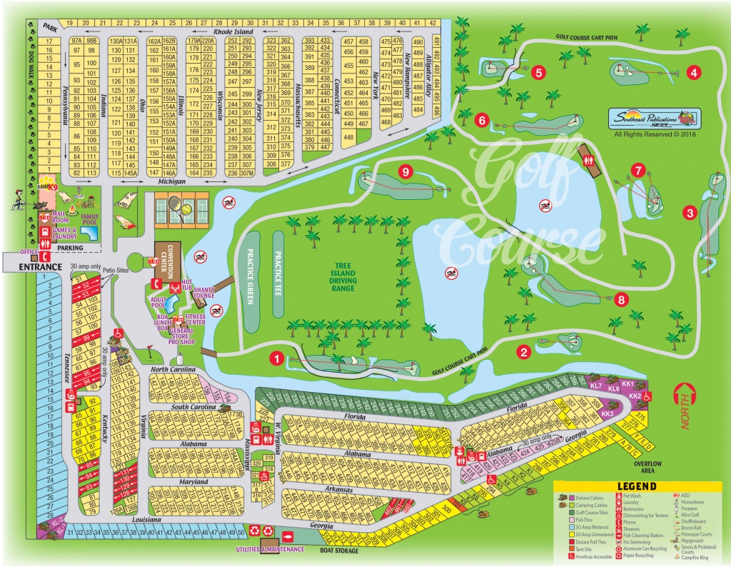 Okeechobee, Florida Campground | Okeechobee Koa - Florida Tent Camping Map