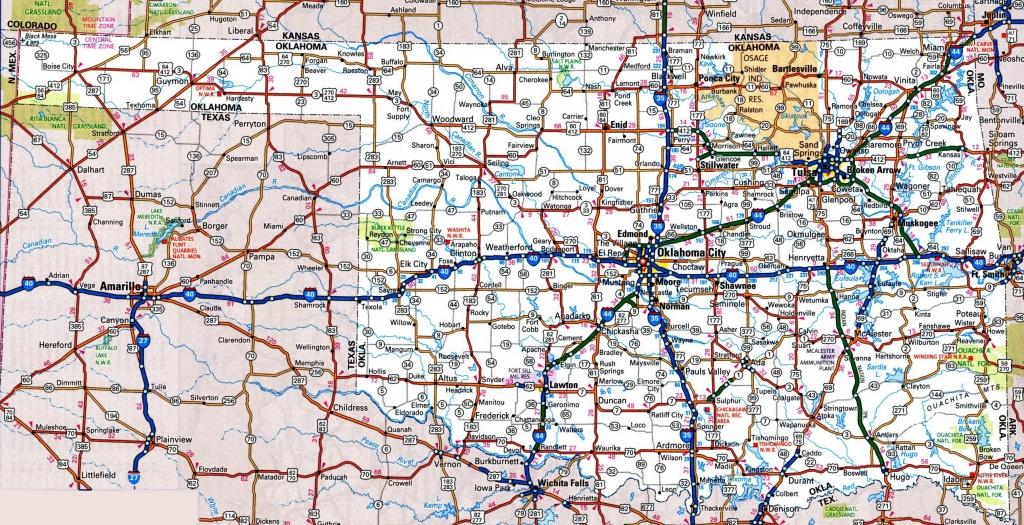 Oklahoma Road Map - Road Map Of Texas And Oklahoma