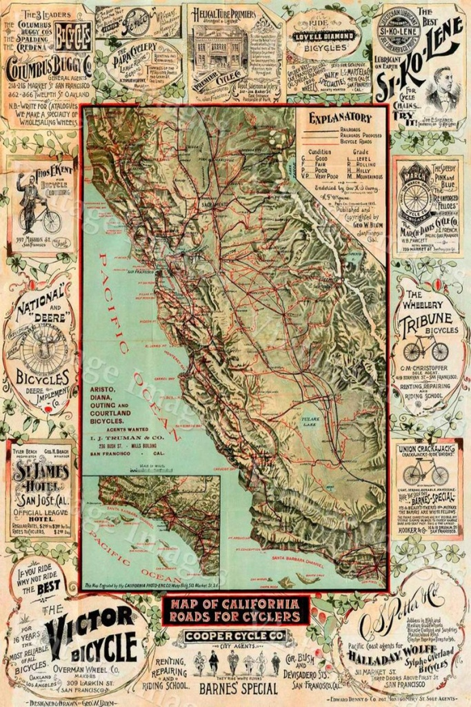 Old California Map California Bicycle Map 1895 Vintage | Etsy - Old California Map