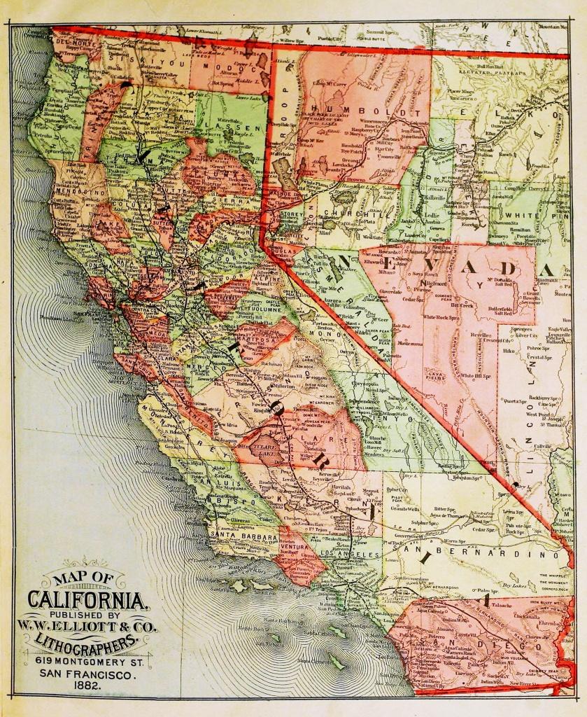 Old California Map Circa 1882 - - Old California Map