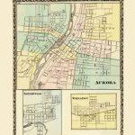 Old City Map   Aurora, Wheaton, Naperville Illinois 1870   Printable Map Of Naperville Il
