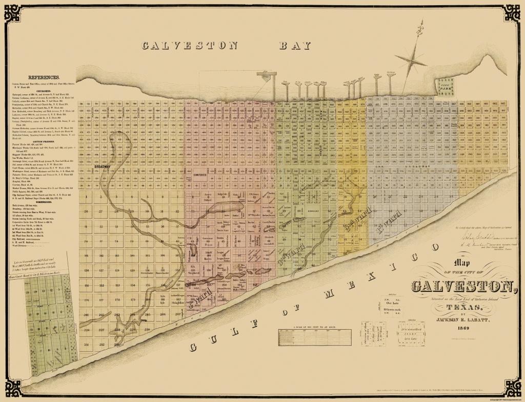 Old City Map - Galveston Texas Landowner - Labatt 1869 - Texas Galveston Map