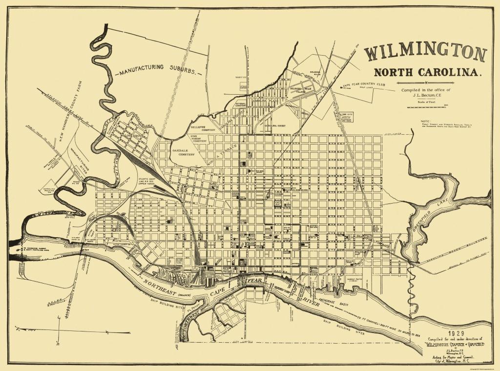 Old City Map - Wilmington North Carolina - 1929 - Printable Map Of Wilmington Nc